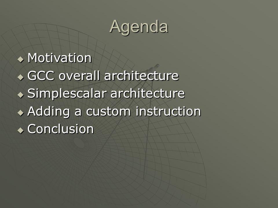 Agenda  Motivation  GCC overall architecture  Simplescalar architecture  Adding a custom instruction  Conclusion  Motivation  GCC overall archi