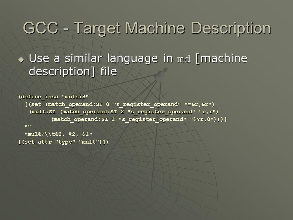 GCC - Target Machine Description  Use a similar language in md [machine description] file (define_insn
