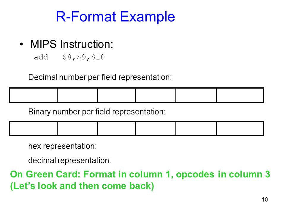 10 R-Format Example MIPS Instruction: add $8,$9,$10 Binary number per field representation: Decimal number per field representation: hex representatio
