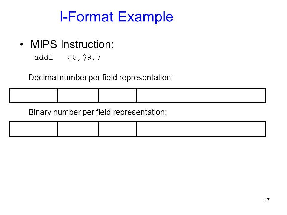 17 I-Format Example MIPS Instruction: addi $8,$9,7 Binary number per field representation: Decimal number per field representation: