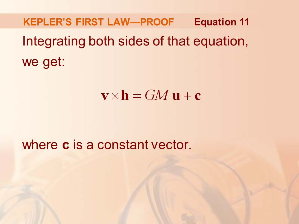 Integrating both sides of that equation, we get: where c is a constant vector.