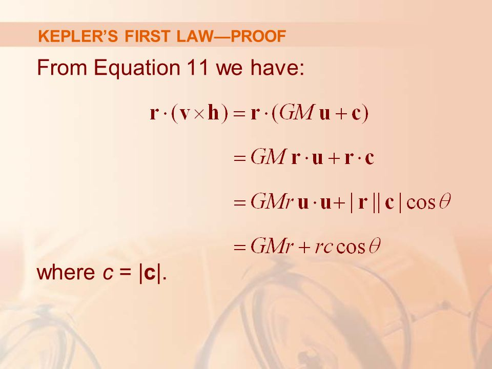 From Equation 11 we have: where c = |c|. KEPLER'S FIRST LAW—PROOF