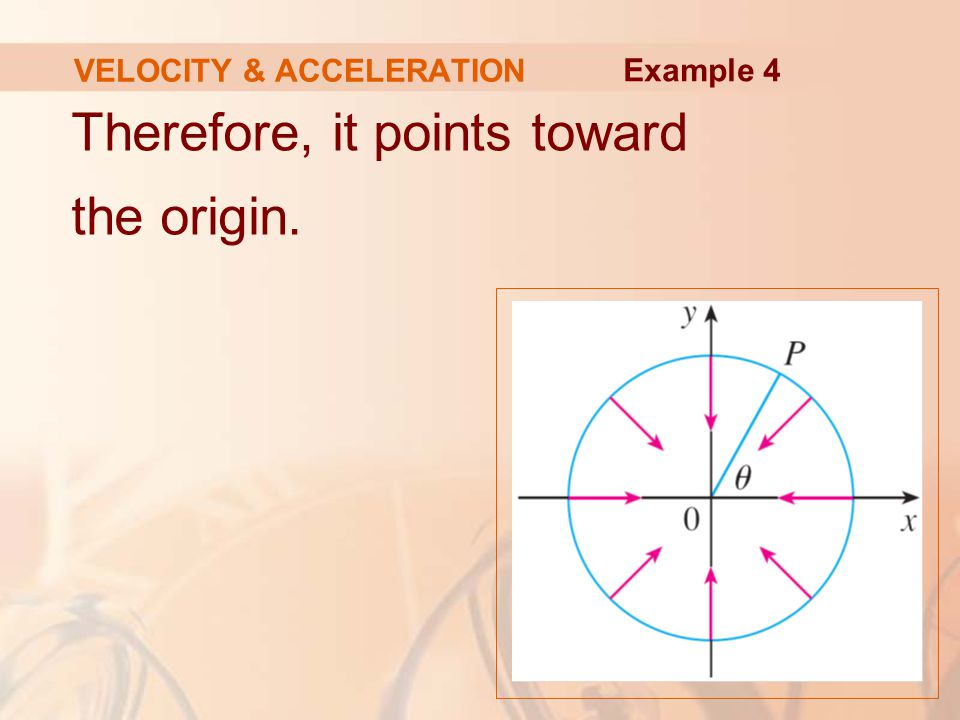 Therefore, it points toward the origin. VELOCITY & ACCELERATION Example 4