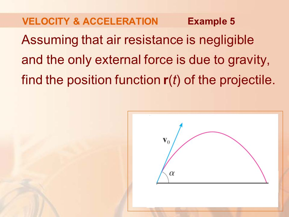 Assuming that air resistance is negligible and the only external force is due to gravity, find the position function r(t) of the projectile. VELOCITY