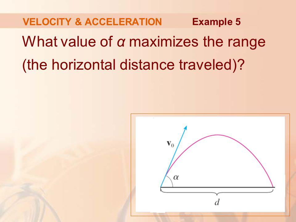 What value of α maximizes the range (the horizontal distance traveled).