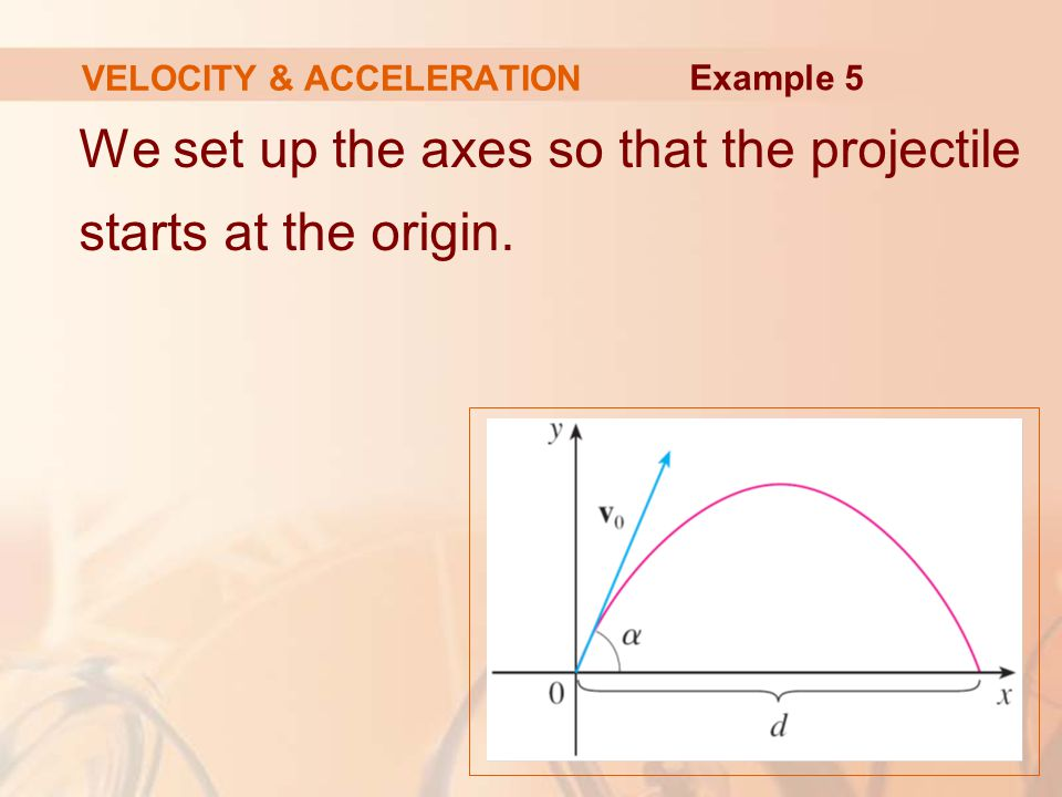 We set up the axes so that the projectile starts at the origin. VELOCITY & ACCELERATION Example 5