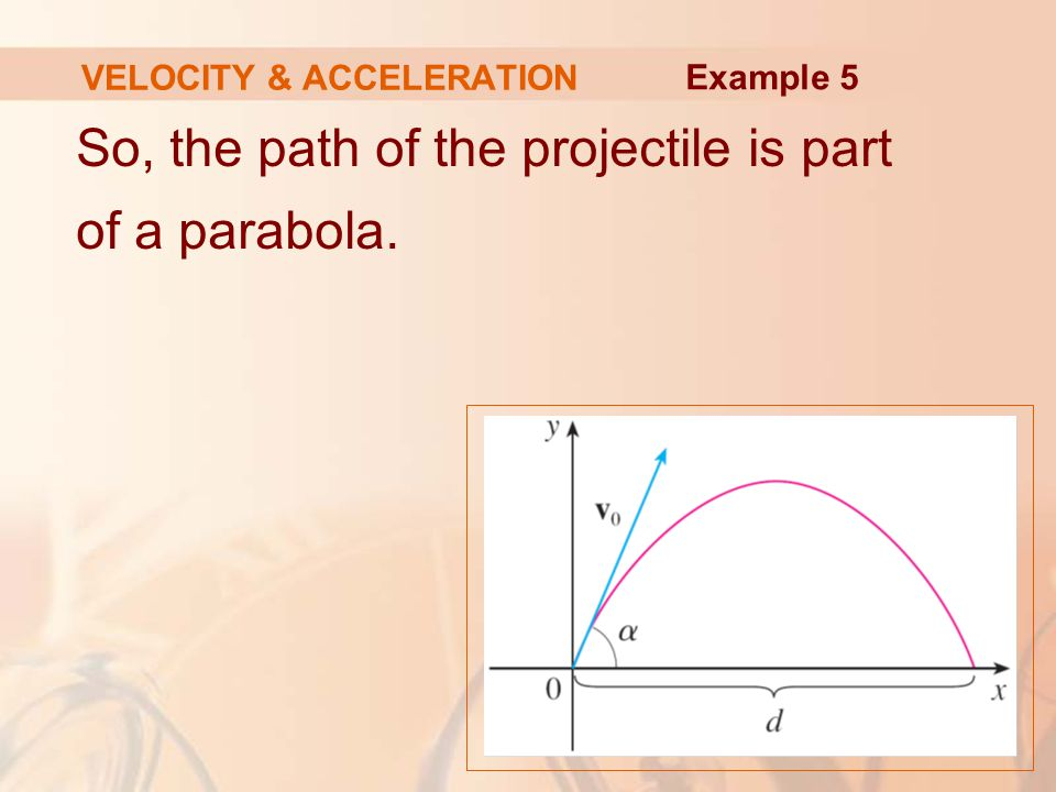 So, the path of the projectile is part of a parabola. VELOCITY & ACCELERATION Example 5