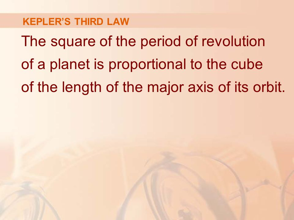 The square of the period of revolution of a planet is proportional to the cube of the length of the major axis of its orbit.