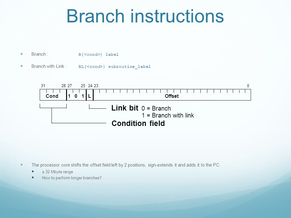 Branch instructions Branch : B{ } label Branch with Link : BL{ } subroutine_label The processor core shifts the offset field left by 2 positions, sign