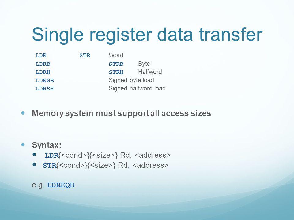Single register data transfer LDRSTR Word LDRBSTRB Byte LDRHSTRH Halfword LDRSB Signed byte load LDRSH Signed halfword load Memory system must support