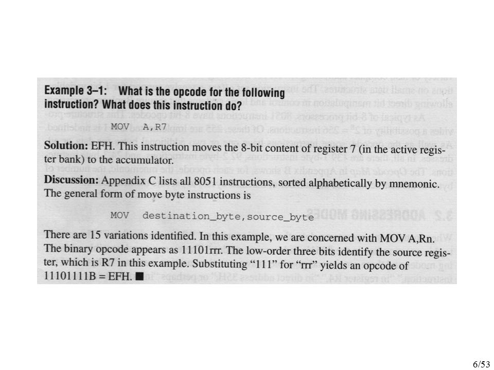 47/53 SJMP instruction specifies the destination address as a relative offset Two bytes long The jump distance is limited to -128 to +127 bytes relative to the address following the SJMP LJMP instruction specifies the destination address as a 16-bit constant Three bytes long AJMP instruction specifies the destination address as an 11-bit constant Two bytes long Destination must be within the same 2K block as the instruction following the AJMP Since there is 64K of code memory space.