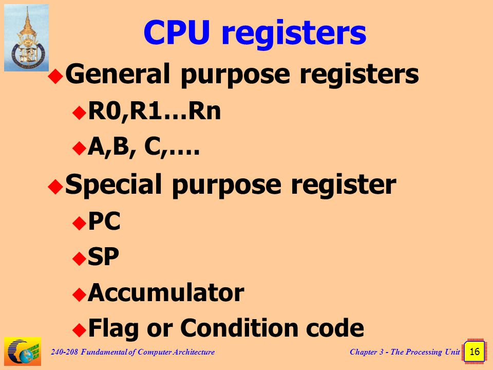 Chapter 3 - The Processing Unit 16 240-208 Fundamental of Computer Architecture CPU registers  General purpose registers  R0,R1…Rn  A,B, C,….