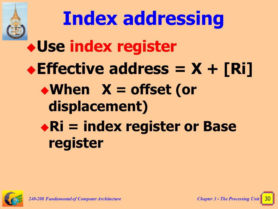 Chapter 3 - The Processing Unit 30 240-208 Fundamental of Computer Architecture Index addressing  Use index register  Effective address = X + [Ri]  When X = offset (or displacement)  Ri = index register or Base register