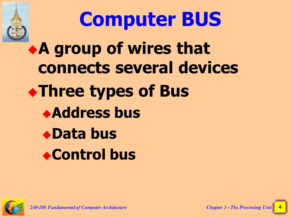 Chapter 3 - The Processing Unit 4 240-208 Fundamental of Computer Architecture Computer BUS  A group of wires that connects several devices  Three t