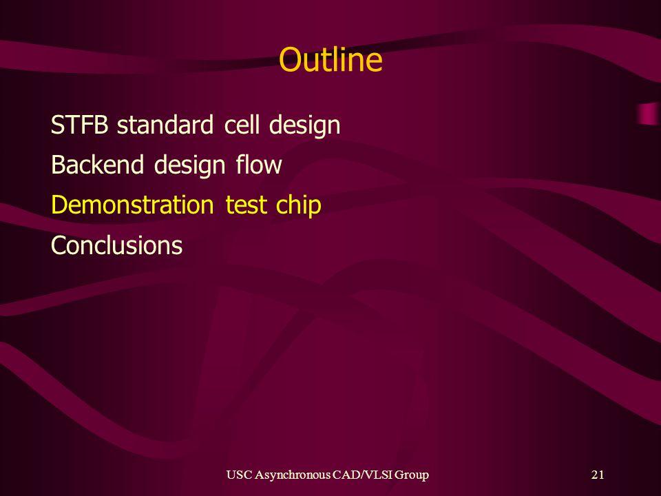 USC Asynchronous CAD/VLSI Group21 Outline STFB standard cell design Backend design flow Demonstration test chip Conclusions