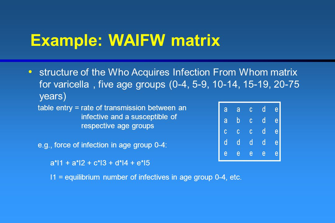 Example: WAIFW matrix structure of the Who Acquires Infection From Whom matrix for varicella, five age groups (0-4, 5-9, 10-14, 15-19, 20-75 years) ta