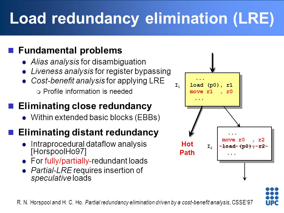 Load redundancy elimination (LRE) Fundamental problems Alias analysis for disambiguation Liveness analysis for register bypassing Cost-benefit analysi