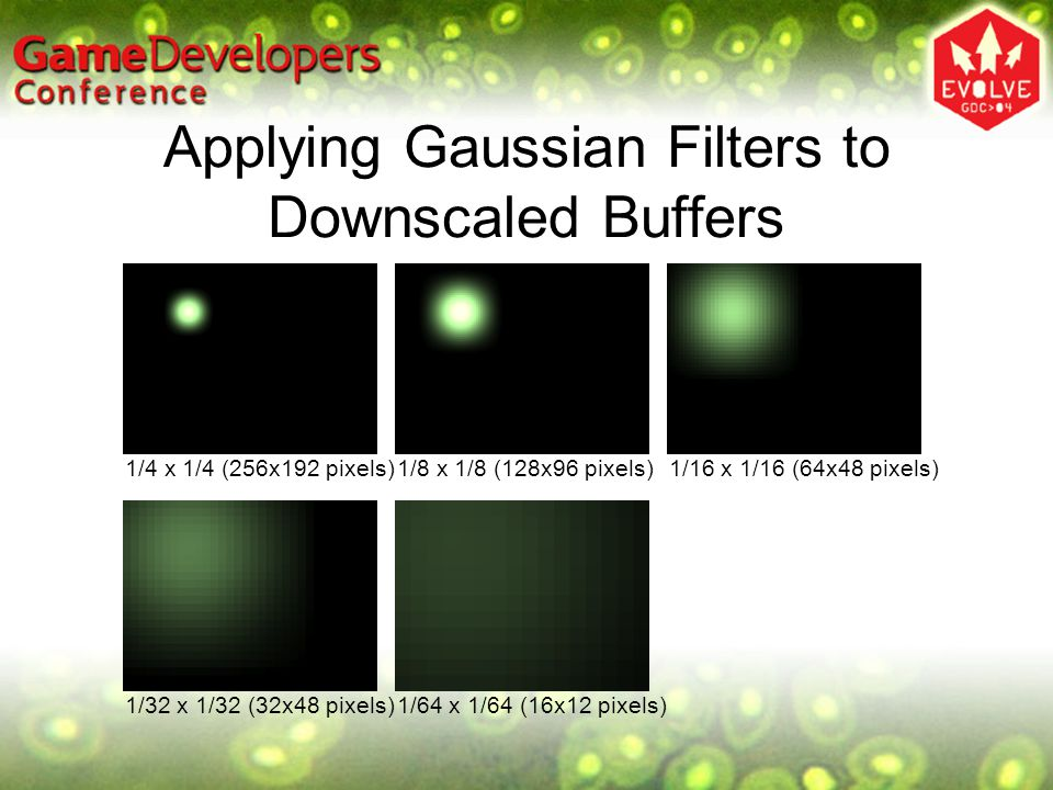 Applying Gaussian Filters to Downscaled Buffers 1/32 x 1/32 (32x48 pixels)1/64 x 1/64 (16x12 pixels) 1/4 x 1/4 (256x192 pixels)1/8 x 1/8 (128x96 pixel