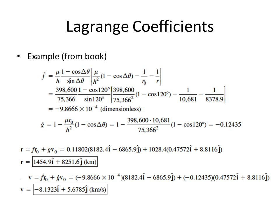 Lagrange Coefficients Example (from book)