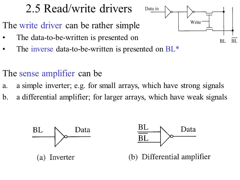 2.5 Read/write drivers The write driver can be rather simple The data-to-be-written is presented on BL The inverse data-to-be-written is presented on