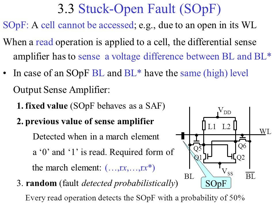 3.3 Stuck-Open Fault (SOpF) SOpF: A cell cannot be accessed; e.g., due to an open in its WL When a read operation is applied to a cell, the differenti