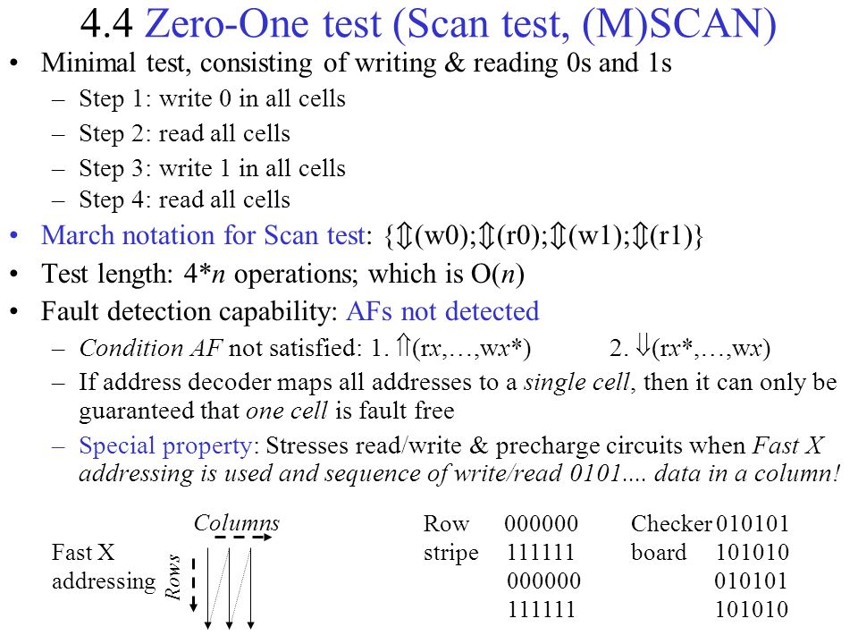 Fast X addressing 4.4 Zero-One test (Scan test, (M)SCAN) Rows Row 000000 stripe 111111 000000 111111 Checker 010101 board 101010 010101 101010 Columns