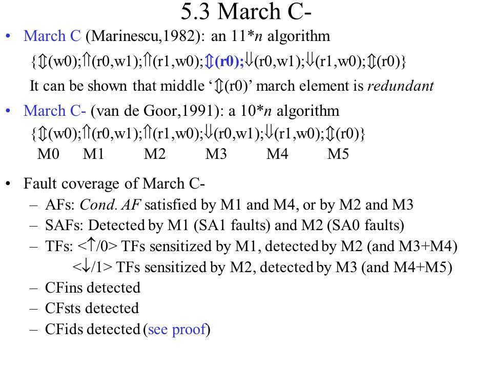 5.3 March C- March C (Marinescu,1982): an 11*n algorithm {  (w0);  (r0,w1);  (r1,w0);  (r0);  (r0,w1);  (r1,w0);  (r0)} It can be shown that mi