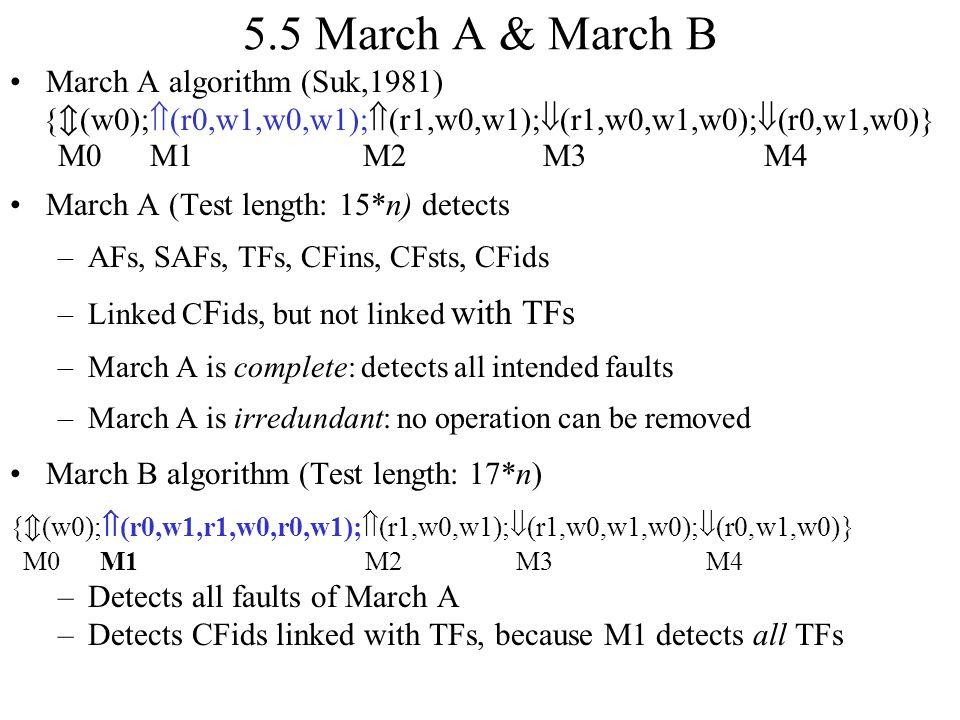 5.5 March A & March B March A algorithm (Suk,1981) {  (w0);  (r0,w1,w0,w1);  (r1,w0,w1);  (r1,w0,w1,w0);  (r0,w1,w0)} M0 M1 M2 M3 M4 March A (Tes
