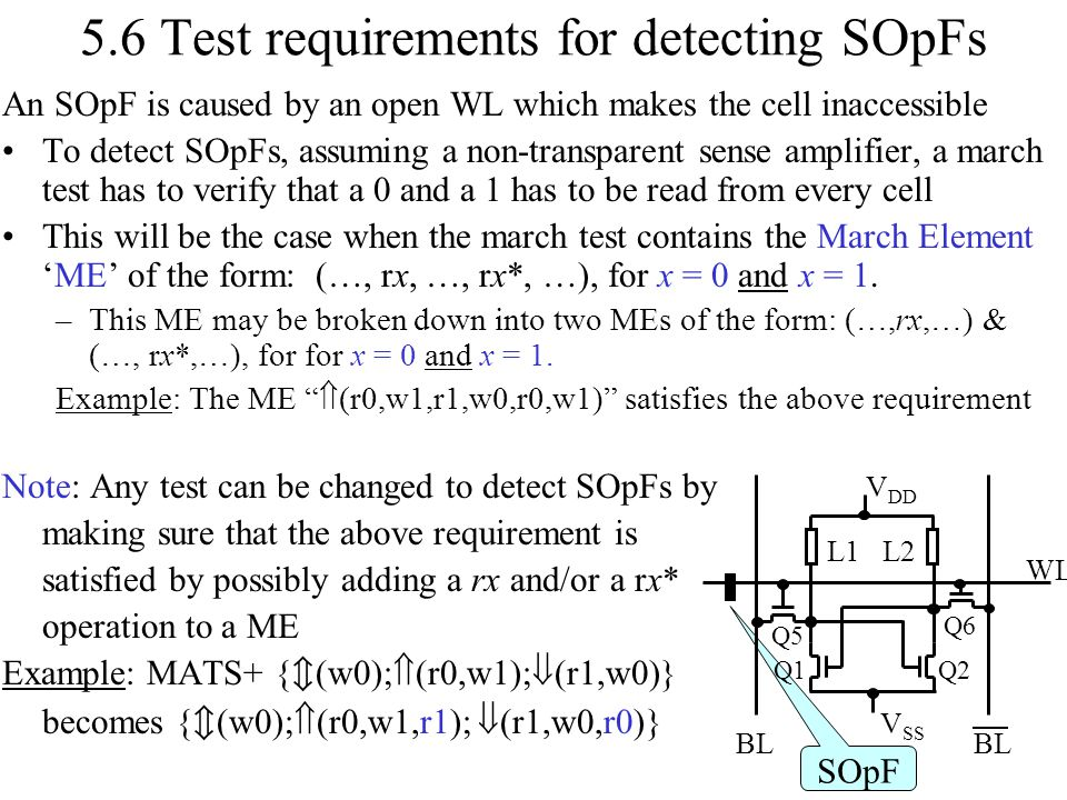 5.6 Test requirements for detecting SOpFs An SOpF is caused by an open WL which makes the cell inaccessible To detect SOpFs, assuming a non-transparen