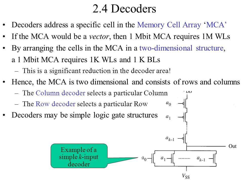 2.4 Decoders Decoders address a specific cell in the Memory Cell Array 'MCA' If the MCA would be a vector, then 1 Mbit MCA requires 1M WLs By arrangin