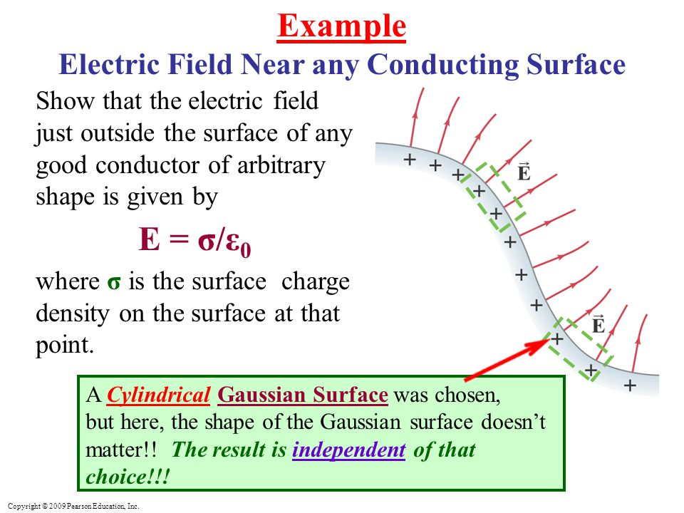 Copyright © 2009 Pearson Education, Inc. Example Electric Field Near any Conducting Surface Show that the electric field just outside the surface of a