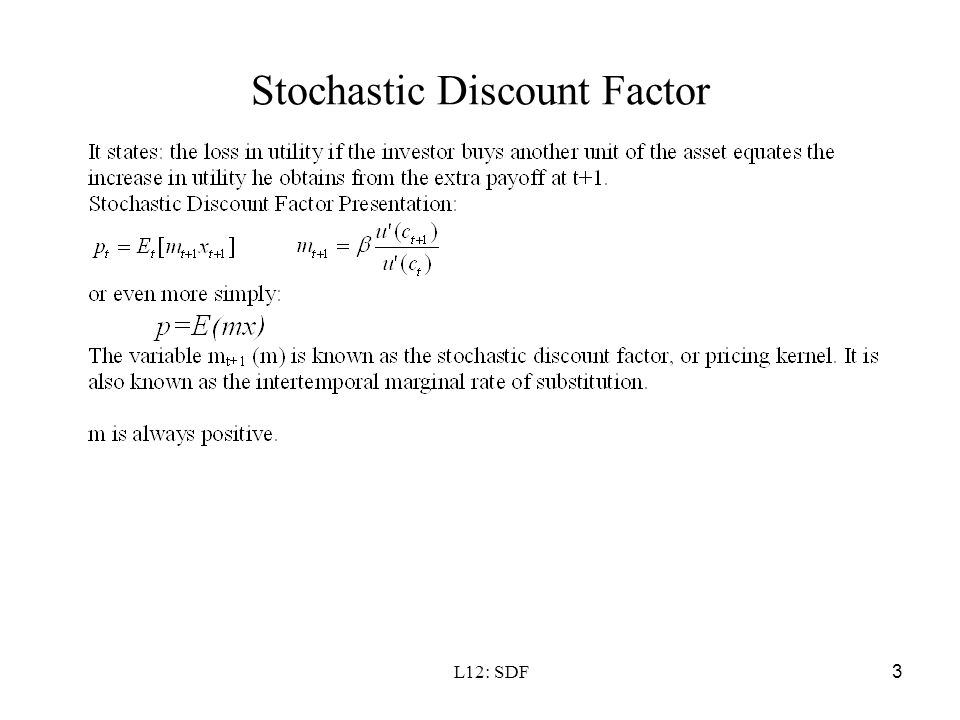 L12: SDF3 Stochastic Discount Factor