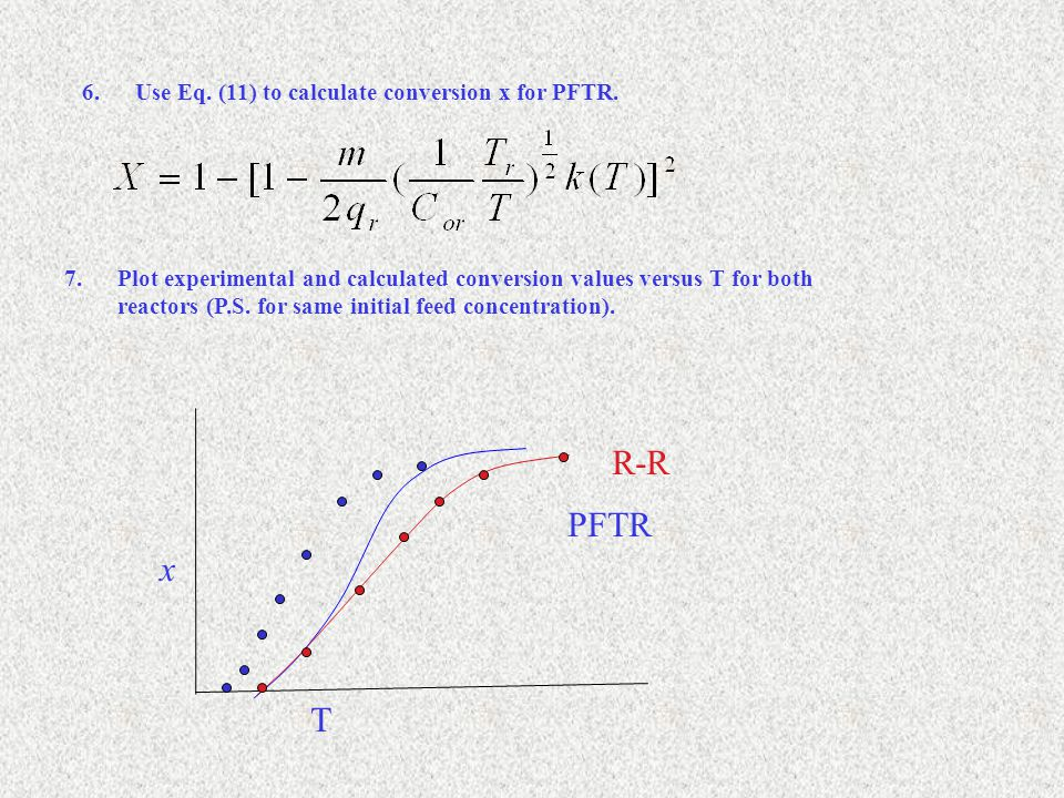 6.Use Eq. (11) to calculate conversion x for PFTR.