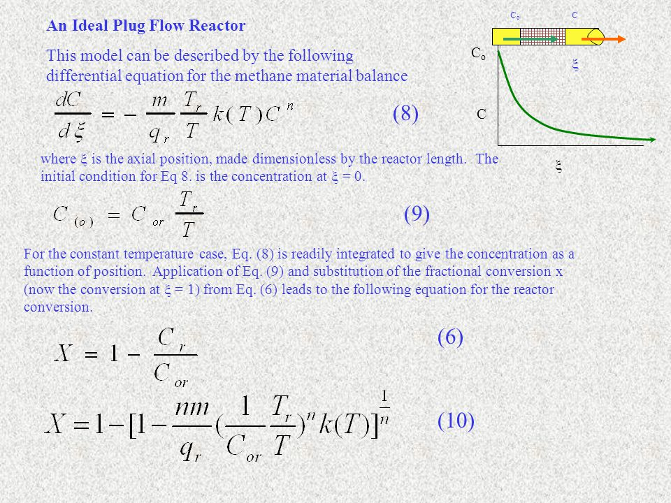 An Ideal Plug Flow Reactor This model can be described by the following differential equation for the methane material balance where  is the axial position, made dimensionless by the reactor length.