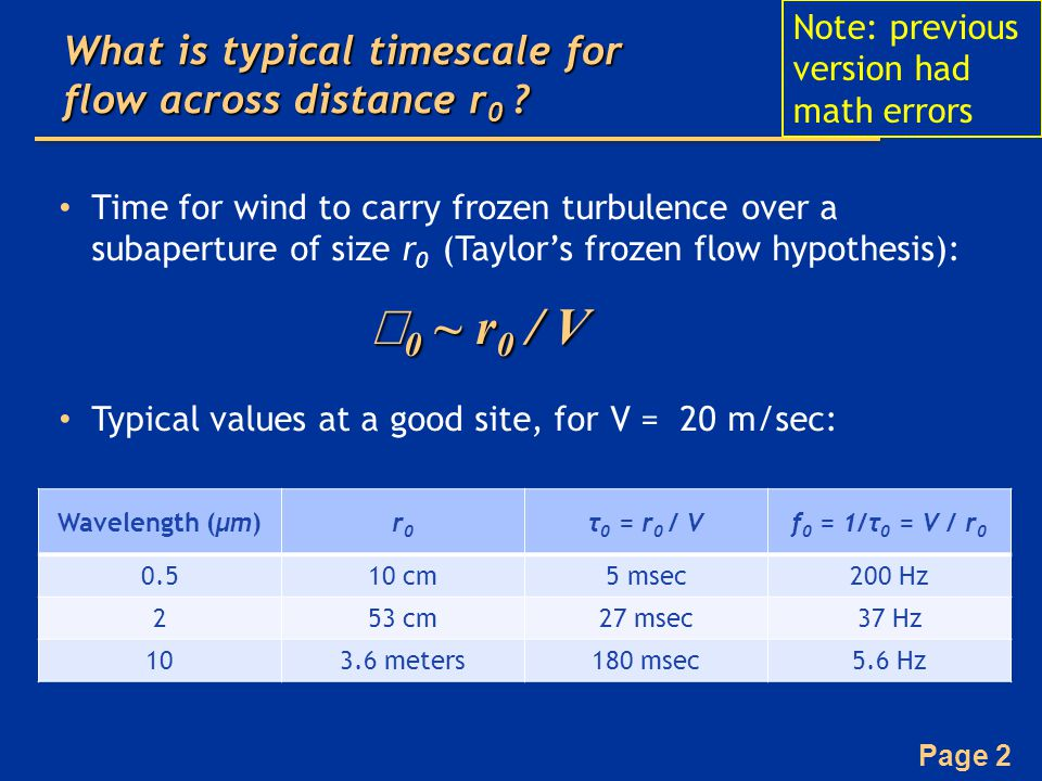 Page 13 Wavefront phase variance due to  0 = f G -1 –If an AO system corrects turbulence perfectly but with a phase lag characterized by a time  then The factor of 28.4 out front is significant penalty: have to run your AO system faster than τ = τ 0 For σ τ 2 < 1, τ < 0.13 τ 0 In addition, closed-loop bandwidth is usually ~ 10x sampling frequency  have to run even faster Wavefront errors due to time lags, τ 0 Hardy Eqn 9.57