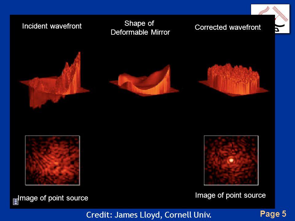 Page 5 Incident wavefront Shape of Deformable Mirror Corrected wavefront Credit: James Lloyd, Cornell Univ. Image of point source