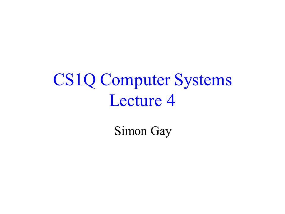 Lecture 4CS1Q Computer Systems - Simon Gay12 Storing Variables in Memory s := 0; while n > 0 loop s := s + n; n := n - 1; end loop; LDVALR2, $0000 STORER2, s[R0] loopLOADR1, n[R0] LDVALR3, $0000 CMPGTR4, R1, R3 JUMPFR4, end[R0] LOADR1, n[R0] LOADR2, s[R0] ADDR2, R2, R1 STORER2, s[R0] LDVALR5, $0001 LOADR1, n[R0] SUBR1, R1, R5 STORER1, n[R0] JUMPloop[R0] end sDATA0000 nDATA????