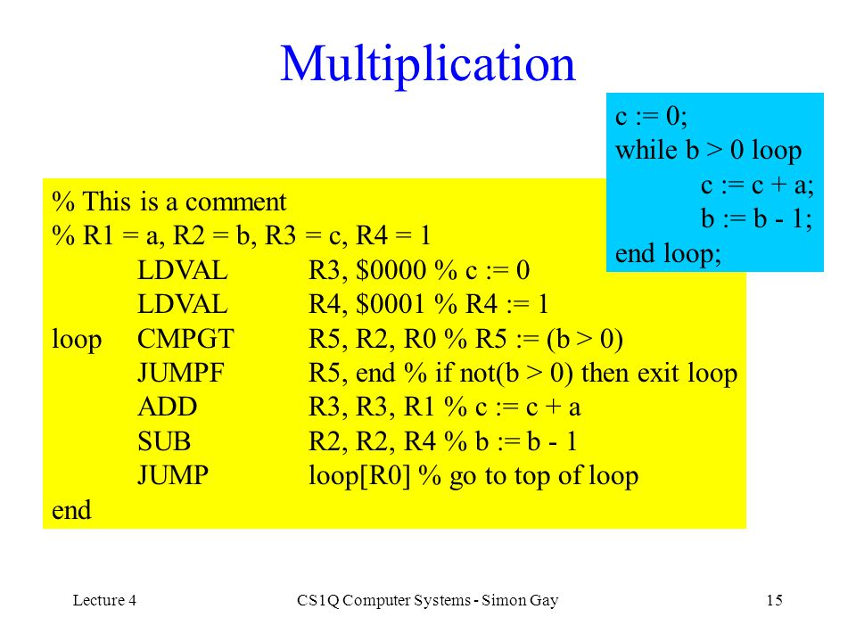 Lecture 4CS1Q Computer Systems - Simon Gay15 Multiplication % This is a comment % R1 = a, R2 = b, R3 = c, R4 = 1 LDVALR3, $0000 % c := 0 LDVALR4, $000