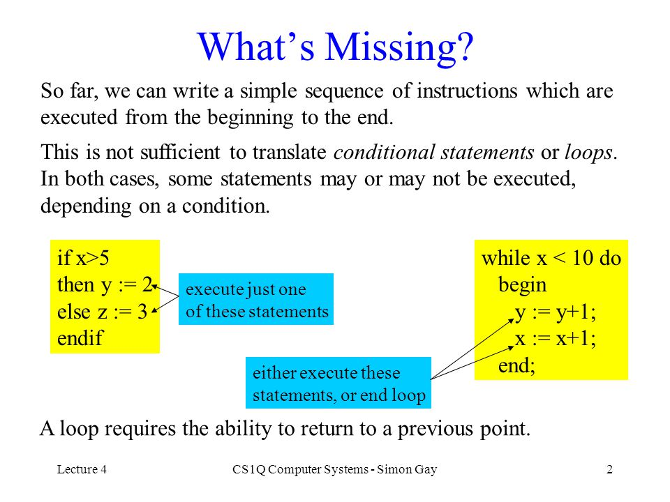 Lecture 4CS1Q Computer Systems - Simon Gay3 Unconditional Jump The JUMP instruction causes execution to jump to a different instruction.
