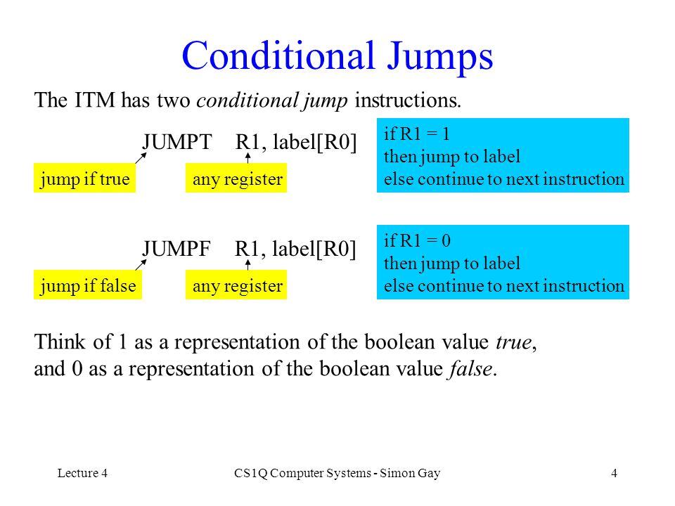 Lecture 4CS1Q Computer Systems - Simon Gay5 Comparison Operators CMPEQ R1, R2, R3 compare equal any registers if R2 = R3 then R1 := 1 else R1 := 0 CMPLT R1, R2, R3 compare less any registers if R2 < R3 then R1 := 1 else R1 := 0 CMPGT R1, R2, R3 compare greater any registers if R2 > R3 then R1 := 1 else R1 := 0