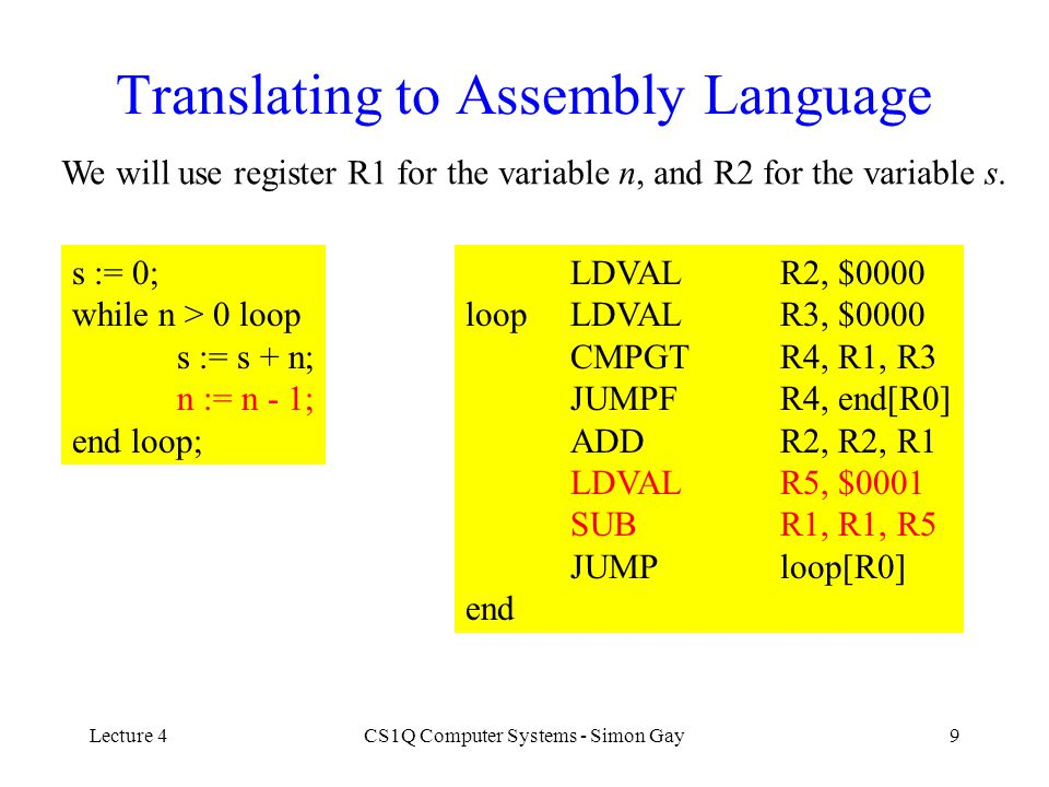 Lecture 4CS1Q Computer Systems - Simon Gay9 Translating to Assembly Language We will use register R1 for the variable n, and R2 for the variable s. s