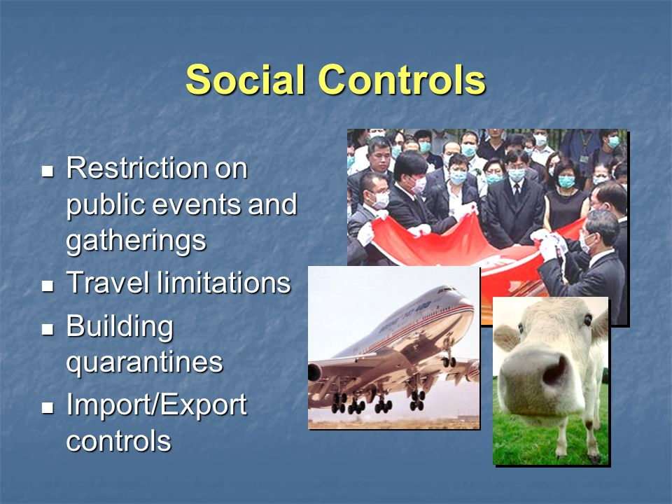 Social Controls Restriction on public events and gatherings Restriction on public events and gatherings Travel limitations Travel limitations Building quarantines Building quarantines Import/Export controls Import/Export controls