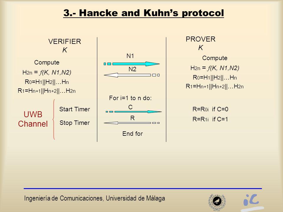 Ingeniería de Comunicaciones, Universidad de Málaga 3.- Hancke and Kuhn's protocol VERIFIER K PROVER K Start Timer N2 Stop Timer N1 Compute H 2n = f (K, N1,N2) R 0 =H 1 ||H 2 ||…H n R 1 =H n+1 ||H n+2 ||…H 2n For i=1 to n do: R C R=R 0i if C=0 R=R 1i if C=1 End for Compute H 2n = f (K, N1,N2) R 0 =H 1 ||H 2 ||…H n R 1 =H n+1 ||H n+2 ||…H 2n UWB Channel