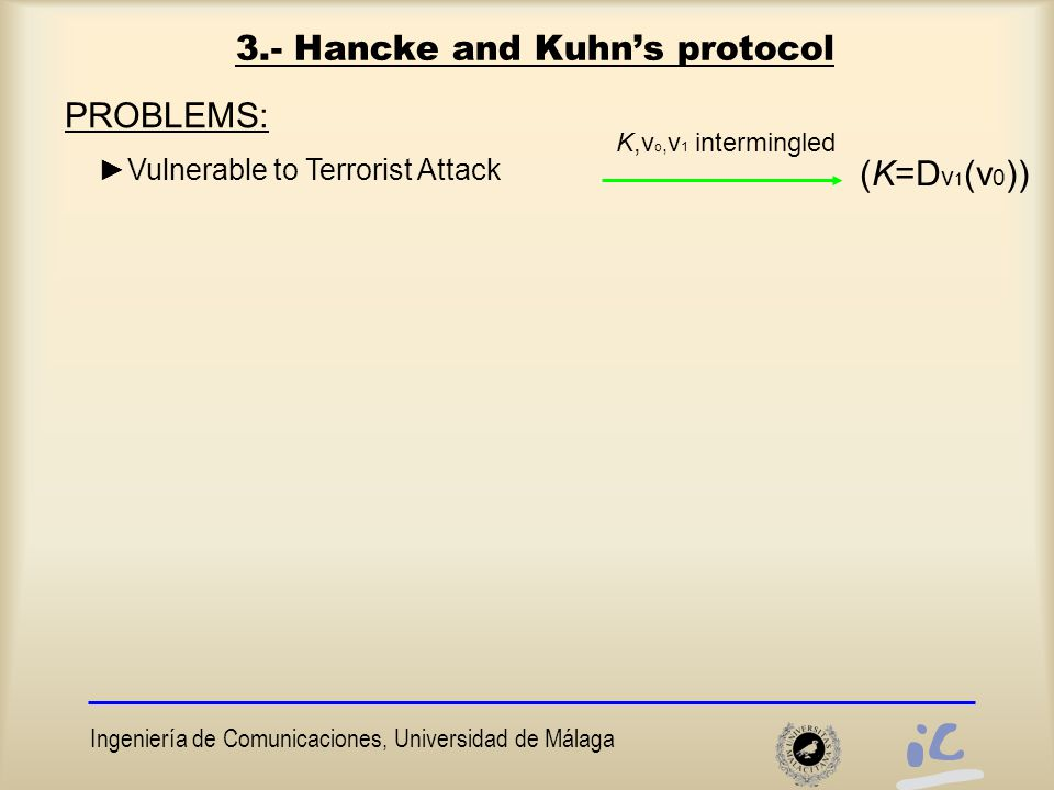 Ingeniería de Comunicaciones, Universidad de Málaga 3.- Hancke and Kuhn's protocol PROBLEMS: ►Vulnerable to Terrorist Attack (K=D v 1 (v 0 )) K,v o, v 1 intermingled