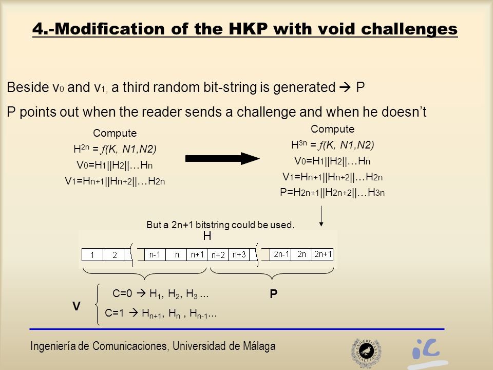 Ingeniería de Comunicaciones, Universidad de Málaga 4.-Modification of the HKP with void challenges Beside v 0 and v 1, a third random bit-string is generated  P P points out when the reader sends a challenge and when he doesn't Compute H 2n = f (K, N1,N2) V 0 =H 1 ||H 2 ||…H n V 1 =H n+1 ||H n+2 ||…H 2n Compute H 3n = f (K, N1,N2) V 0 =H 1 ||H 2 ||…H n V 1 =H n+1 ||H n+2 ||…H 2n P=H 2n+1 ||H 2n+2 ||…H 3n But a 2n+1 bitstring could be used.