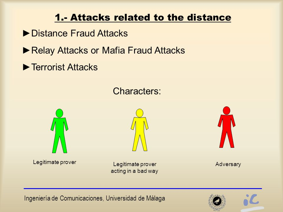 Ingeniería de Comunicaciones, Universidad de Málaga 5.- Novel protocol with void-challenges Resistant against terrorist attack ►K, V 0, V 1 are intermingled ►To avoid a eavesdropper could know the key K : the reader randomly leaves without sending some challenges  eavesdropper loses this information.