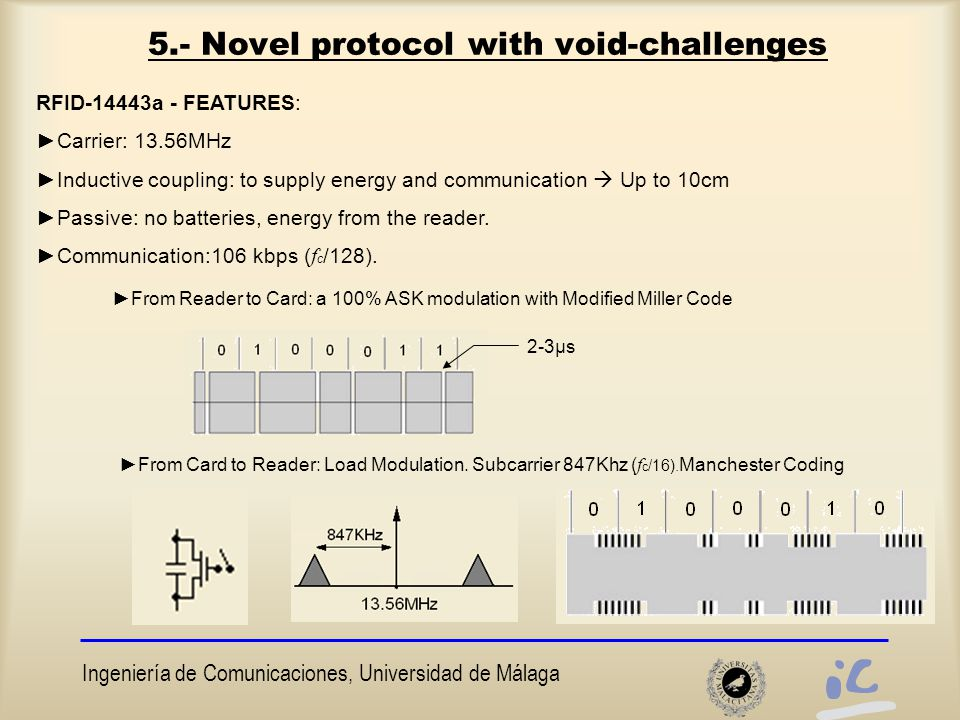 Ingeniería de Comunicaciones, Universidad de Málaga 5.- Novel protocol with void-challenges RFID-14443a - FEATURES: ►Carrier: 13.56MHz ►Inductive coupling: to supply energy and communication  Up to 10cm ►Passive: no batteries, energy from the reader.