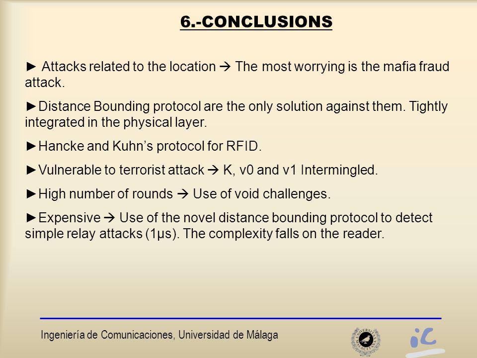 Ingeniería de Comunicaciones, Universidad de Málaga 6.-CONCLUSIONS ► Attacks related to the location  The most worrying is the mafia fraud attack.