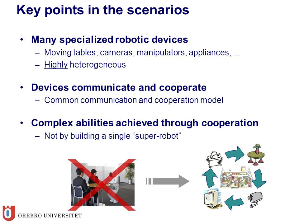 Key points in the scenarios Many specialized robotic devices –Moving tables, cameras, manipulators, appliances,... –Highly heterogeneous Devices commu