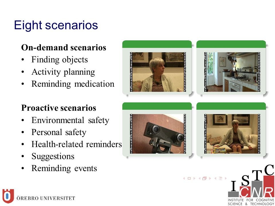 Eight scenarios On-demand scenarios Finding objects Activity planning Reminding medication Proactive scenarios Environmental safety Personal safety Health-related reminders Suggestions Reminding events